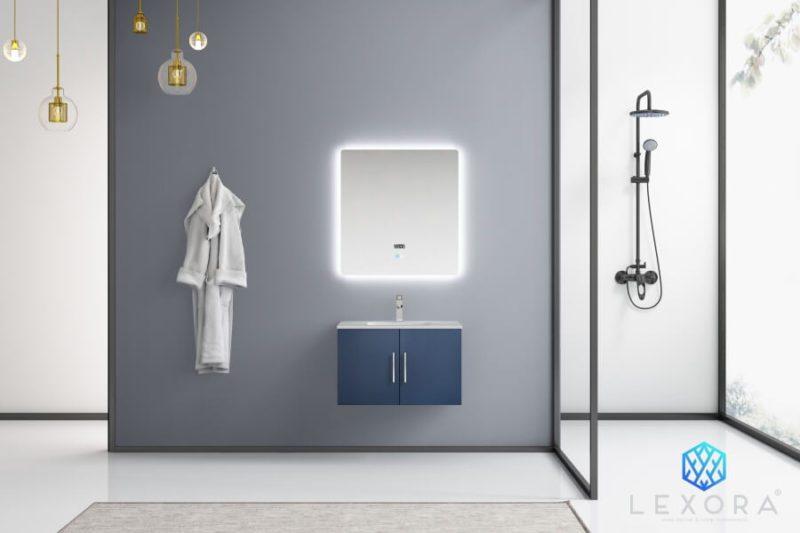 30 Inch Single Sink Wall Mounted Bathroom Vanity in Navy Blue