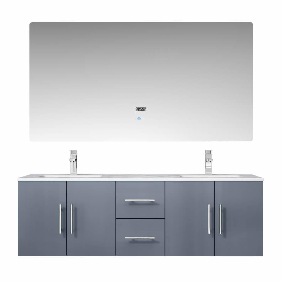 60 Inch Double Sink Wall Mounted Bathroom Vanity in Dark Gray
