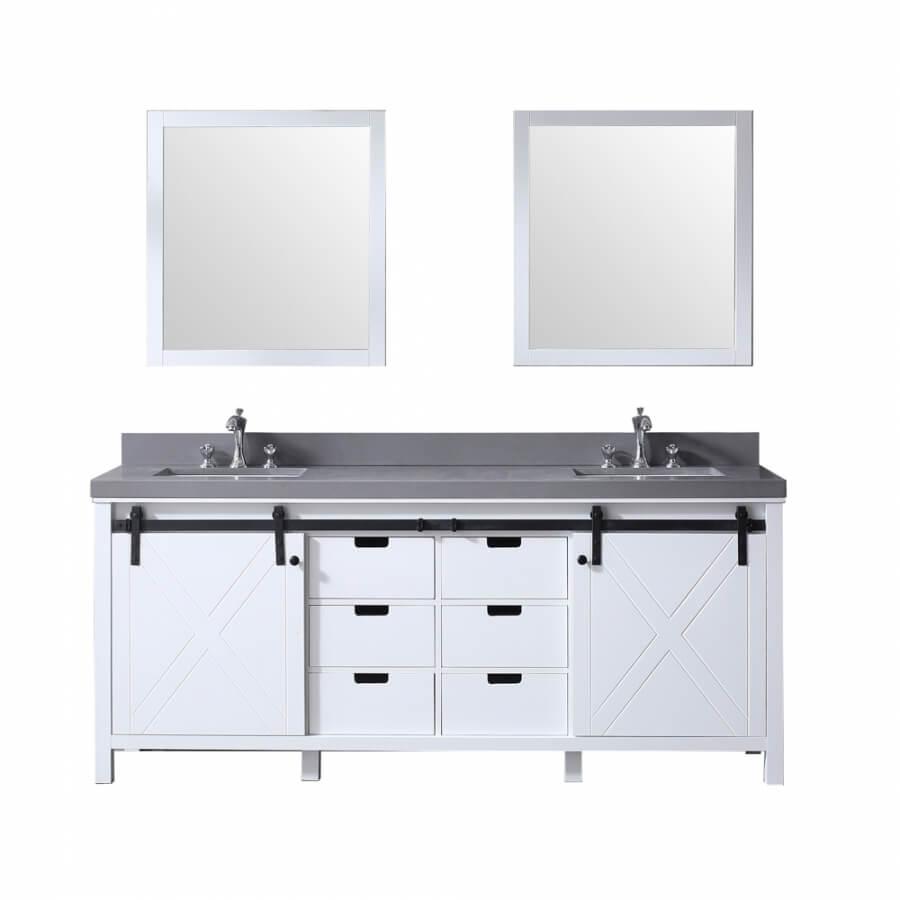 80 Inch Double Sink Bathroom Vanity in White with Barn Door Style Doors