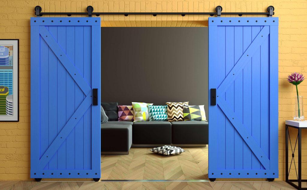 blue sliding barn doors