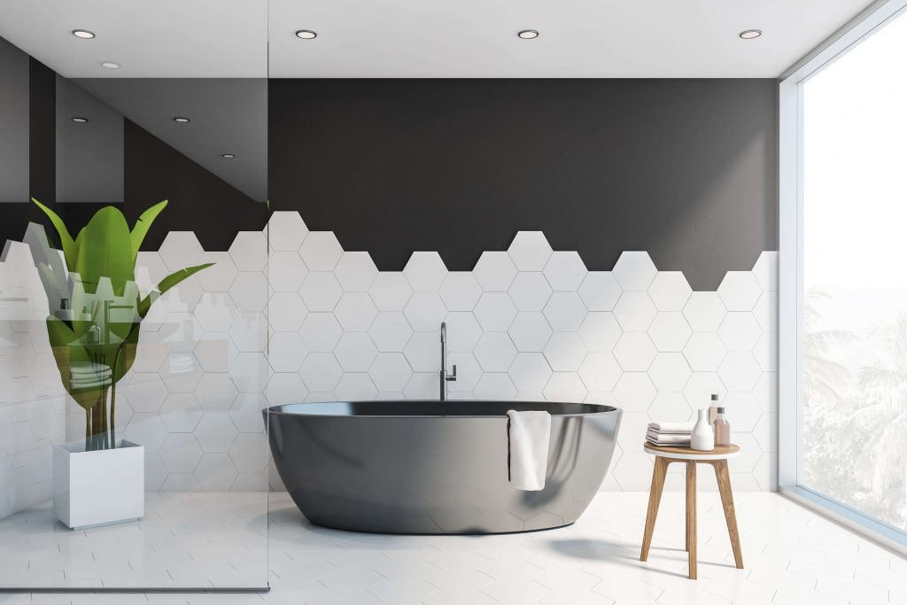 layered tiles in bathroom
