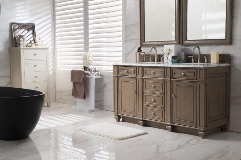 60 Inch Double Sink Bathroom Vanity in White Washed Walnut