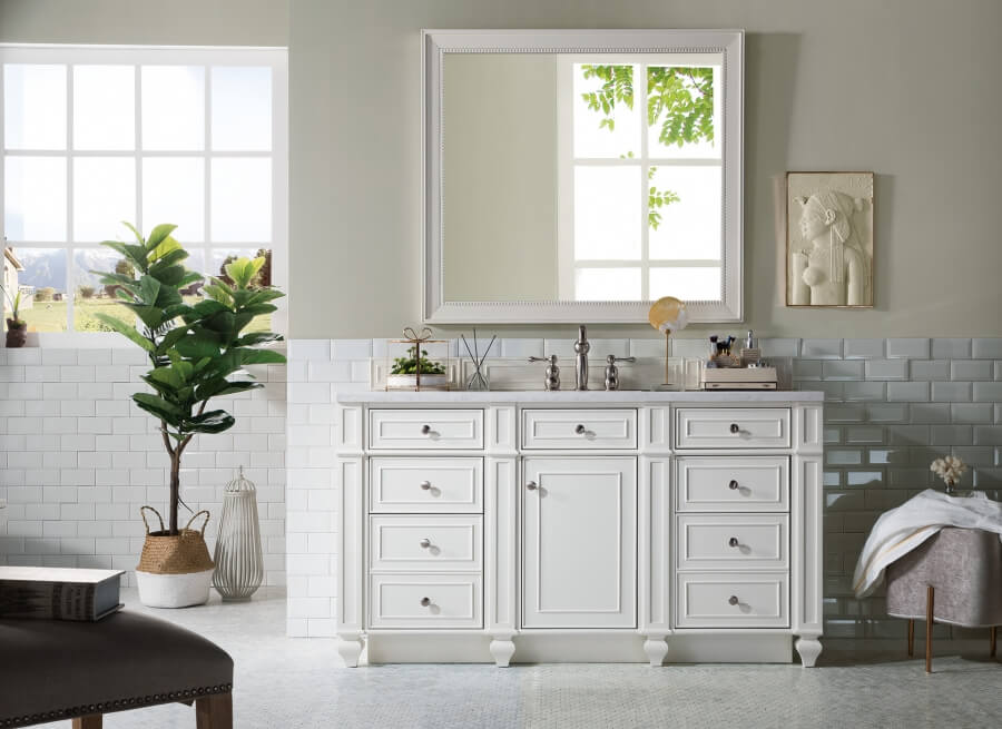 60 Inch Single Sink Bathroom Vanity in Bright White with Choice of Top