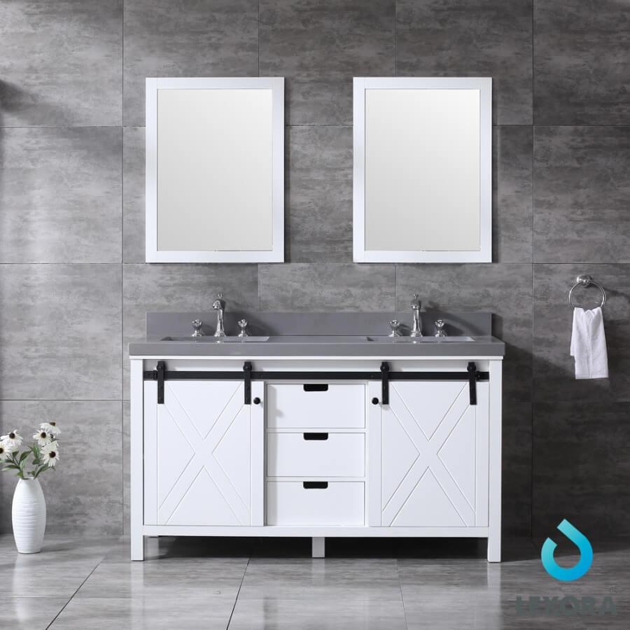 60 Inch Double Sink Bathroom Vanity in White with Barn Door Style Doors