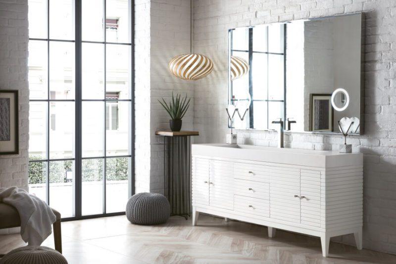 72 Inch Single Sink Bathroom Vanity in Glossy White