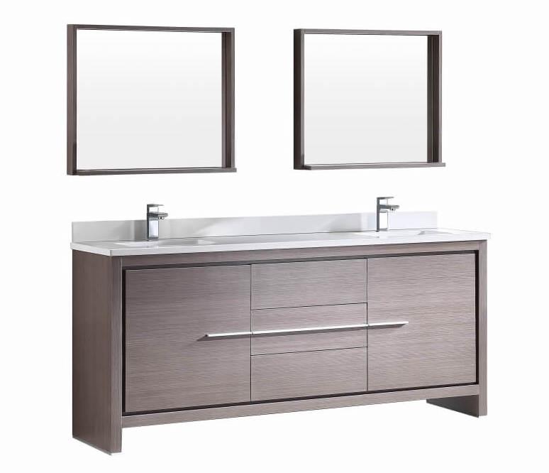 72 Inch Gray Oak Modern Double Sink Bathroom Vanity