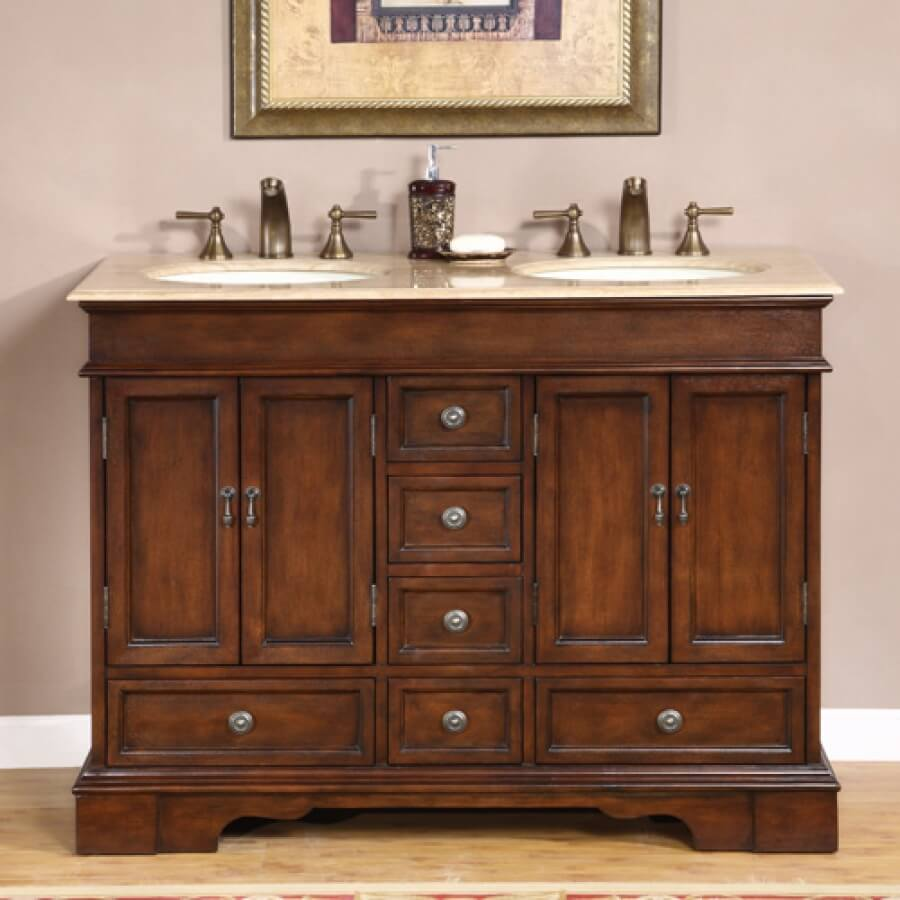 48 Inch Small Double Sink Vanity with Granite or Travertine Top