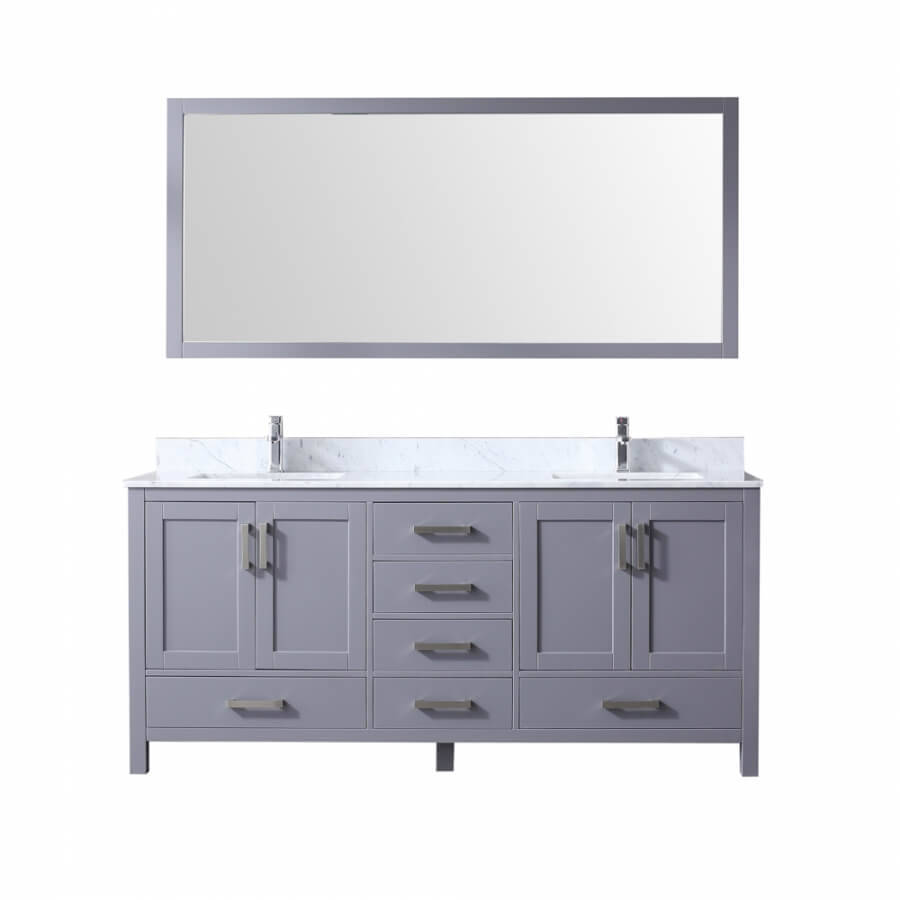 72 Inch Double Sink Bathroom Vanity in Dark Gray with Choice of No Top