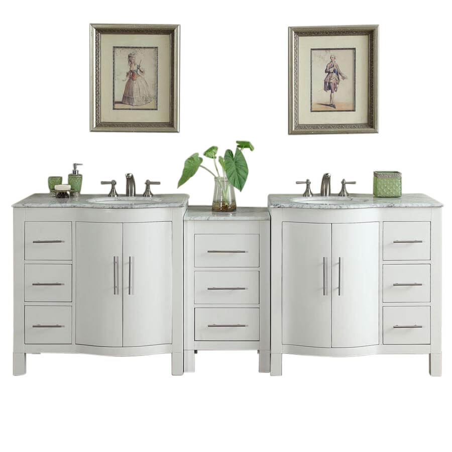 89 Inch Double Sink Bathroom Vanity with Offset Sinks