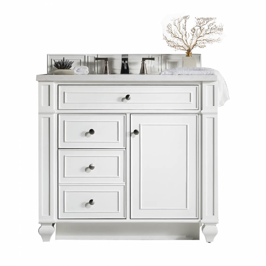 36 Inch Single Sink Bathroom Vanity in Bright White with Choice of Top
