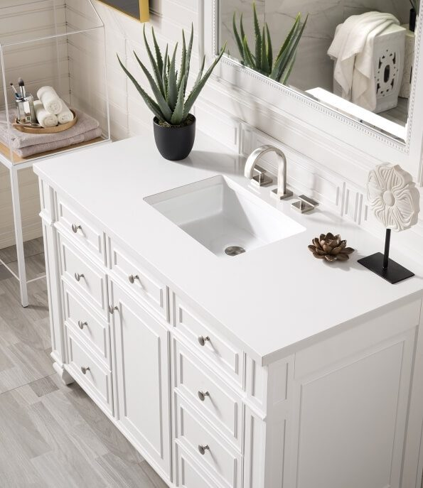 48 Inch Single Sink Bathroom Vanity in Cottage White with Choice of Top