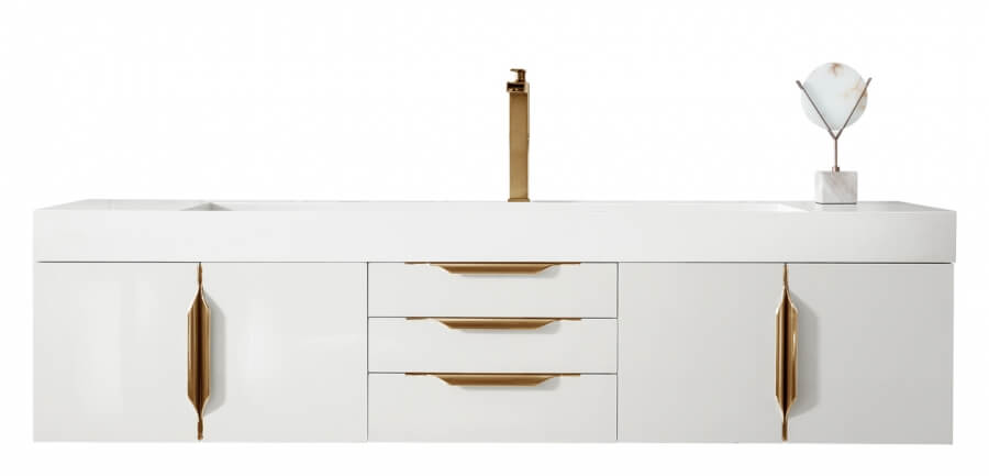 72 Inch Single Sink Bathroom Vanity in Glossy White with Radiant Gold Pulls
