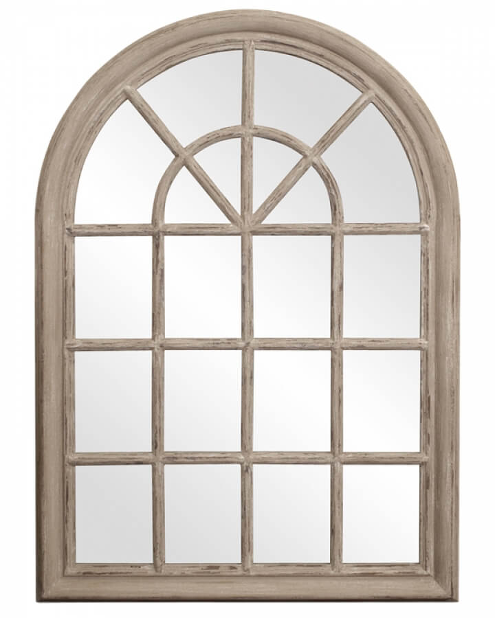 Fenetre Arched Rustic Windowpane Style with Distressed Taupe Mirror