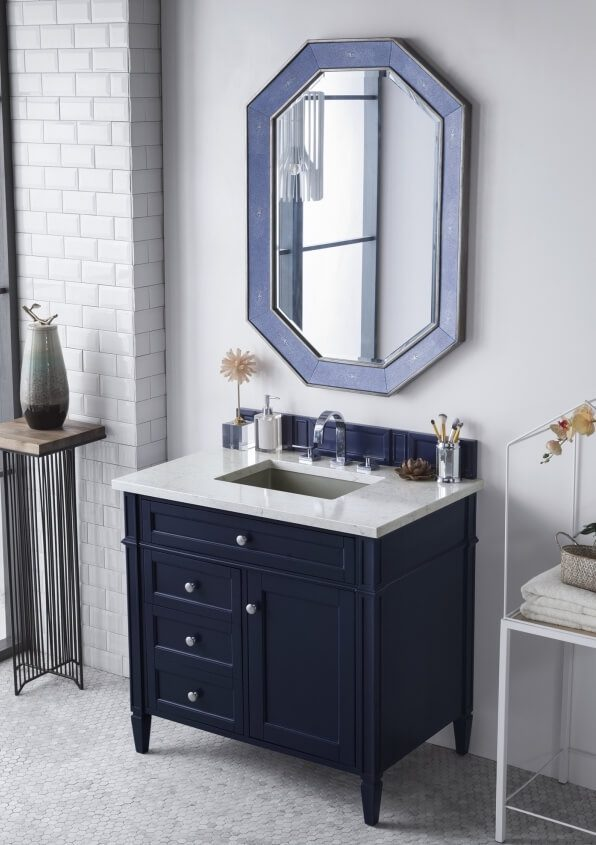 36 Inch Single Sink Bathroom Vanity in Victory Blue with Choice of Top