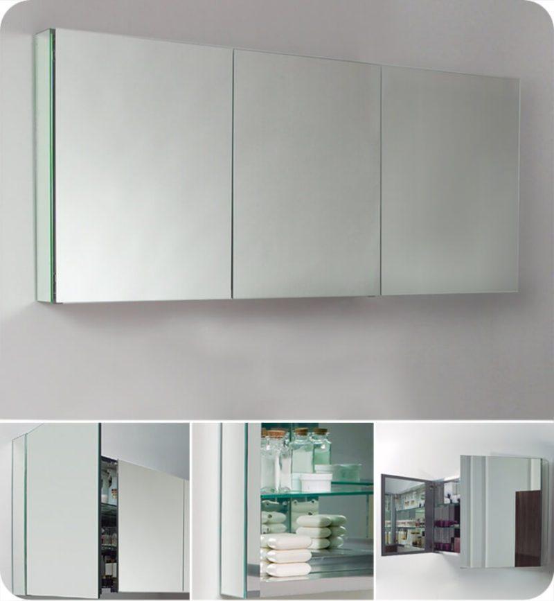 Three Mirrored Door Medicine Cabinet
