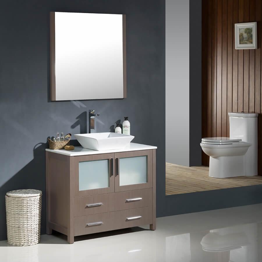 36 Inch Gray Oak Modern Bathroom Vanity