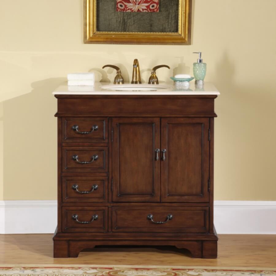 36 Inch Single Sink Bathroom Vanity with Marble