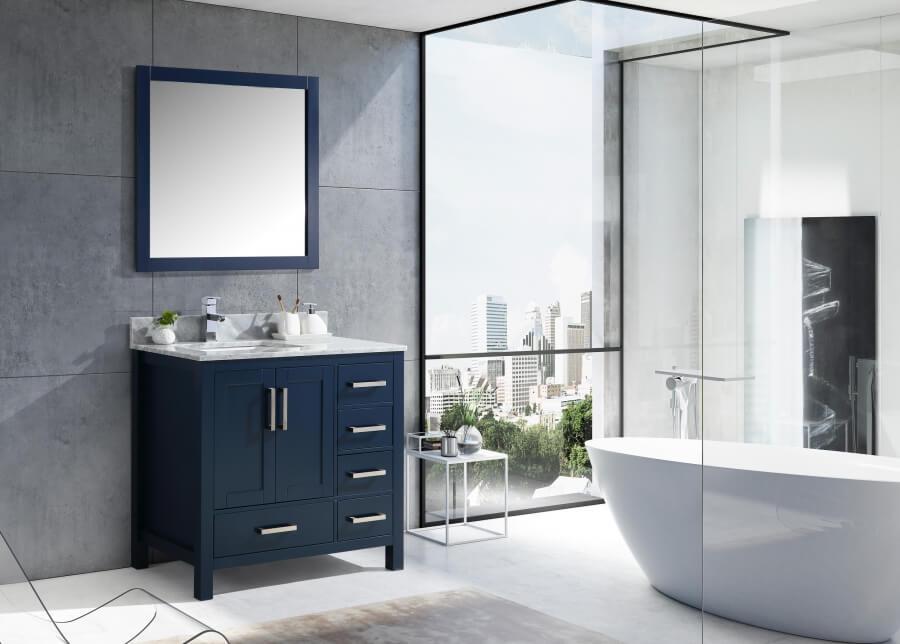 36 Inch Single Sink Bathroom Vanity In Navy Blue with Offset Left Side Sink