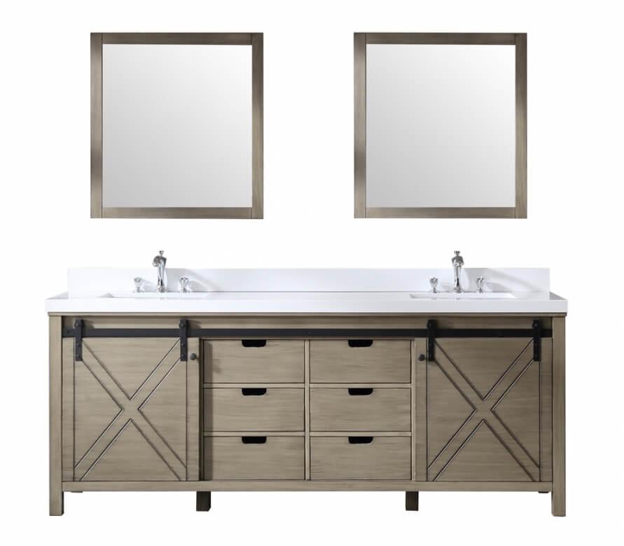84 Inch Double Sink Bathroom Vanity in Ash Gray with Barn Door Style Doors