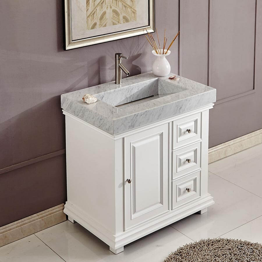 36 Inch Single Sink Bathroom Vanity in White with Offset Drain