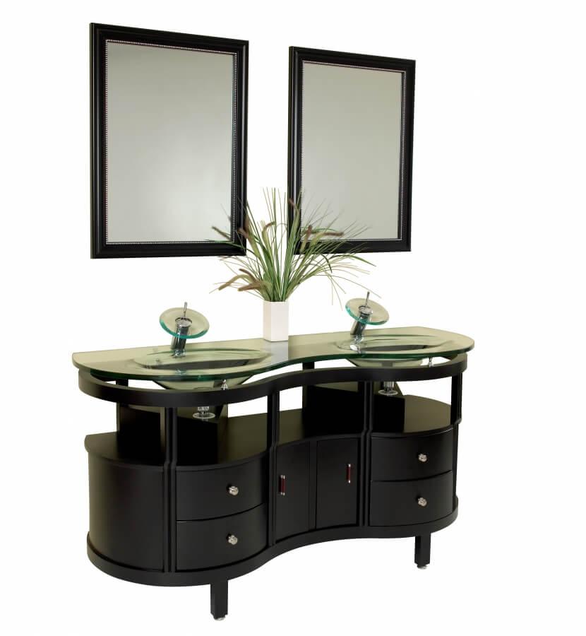 63 Inch Espresso Modern Bathroom Vanity with Mirrors