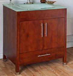 33 InchSingle Sink Bathroom Vanity with a Medium Walnut ...