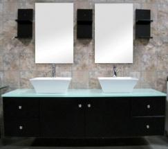 Modern double ceramic vessel sink bathroom vanity set small bathroom