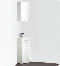 14 inch white modern corner bathroom vanity with optional
