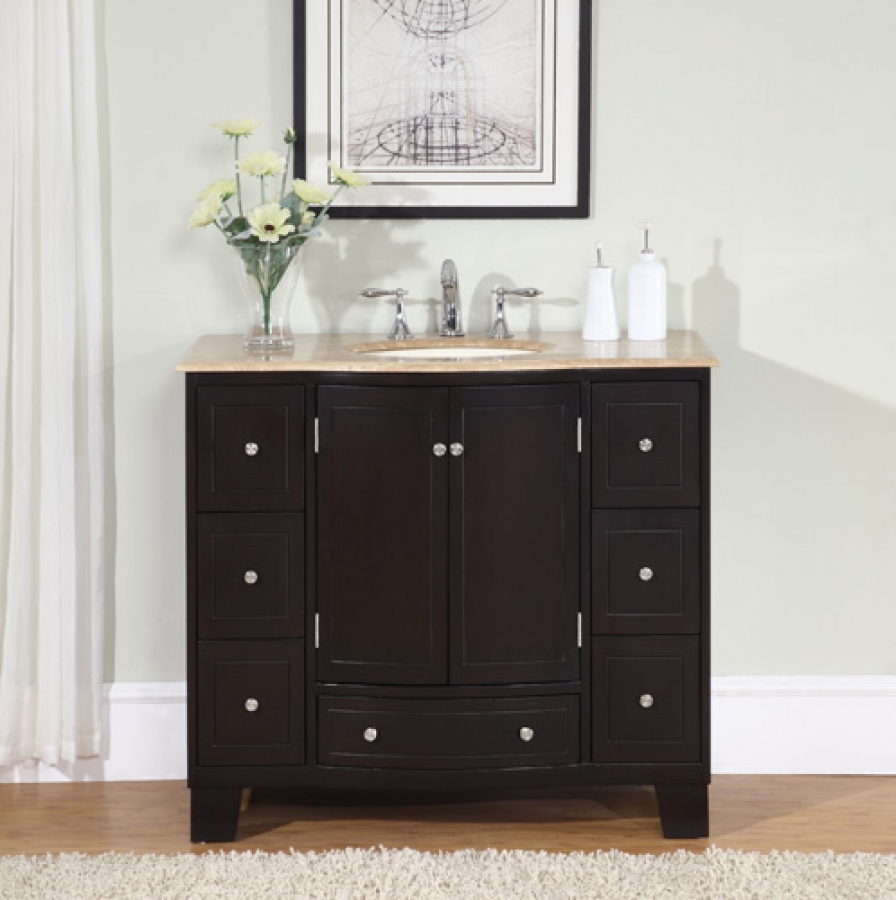 40 inch single sink espresso bathroom vanity for Bathroom vanity cabinets