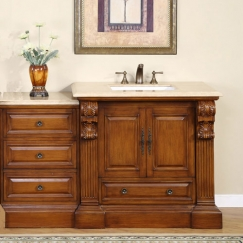 58 Inch Traditional Single Bathroom Vanity With Travertine And 2 Doors 1 Drawer Uvsr090758