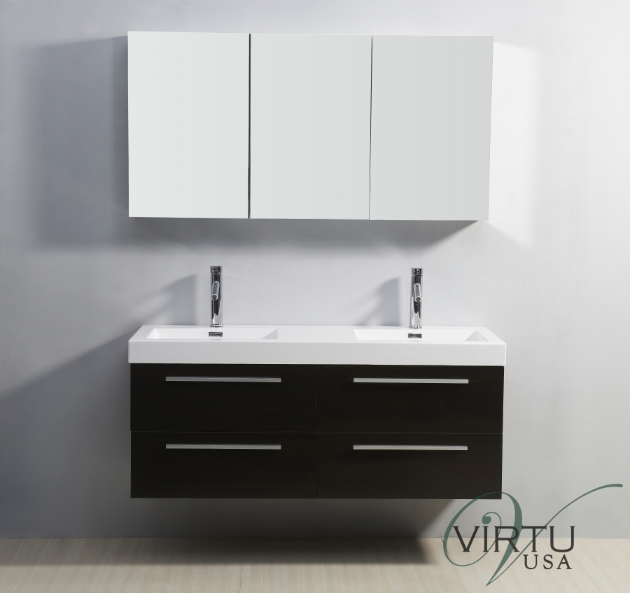 home 54 inch double sink bathroom vanity with soft closing drawers