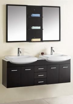 59 Inch Modern Double Sink Bathroom Vanity Espresso UVVU305959