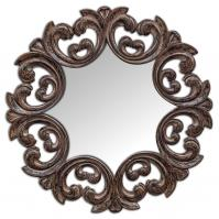 Torlonia Distressed Taupe Gray With Black Accents Round Mirror