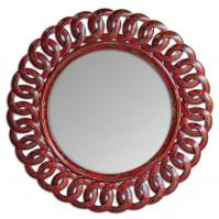 Sassia Distressed Aged Red With Black Accents Round Mirror