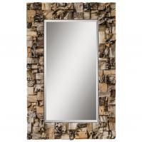Thatcher Crude Chunks And Small Pieces Of Teak Root Pieced Together Rectangular Mirror