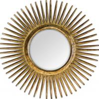 Destello Heavily Distressed Sanded Gold Leaf Round Mirror
