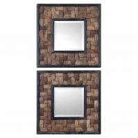 Barros Distressed Black Accents Square Mirror Set of 2
