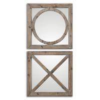 Bacie Abbracci Light Gray Wash Square Mirror Set of 2