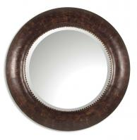 Leonzio Hand Finished Brown Leather Round Mirror
