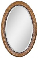 Capiz Antiqued Dark Capiz Shell Oval Mirror
