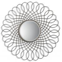 Delphine Antiqued Silver Leaf Round Mirror