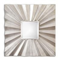 Adelmar Lightly Antiqued Silver Leaf Square Mirror