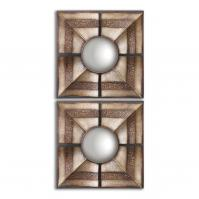 Euthalia Heavy Rustic Bronze Wash With Silver Undertones Square Mirror Set of 2