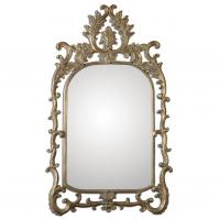 Abelia Antiqued Gold Leaf Accented With A Light Gray Wash Arched Mirror