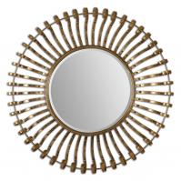 Leopolda Lightly Antiqued Gold Leaf Round Mirror
