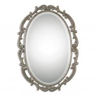 Gwendolen Antiqued Silver Oval Mirror