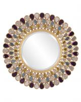 Grace Round Amethyst, Amber and Topaz Glass Mirror
