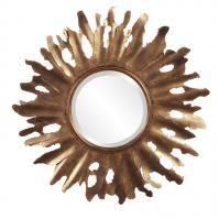 Compass Aged Gold Abstract Sunburst Metal Round Frame Mirror