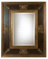 Cadence Gold Leaf with Heavy Antiquing Rectangular Mirror