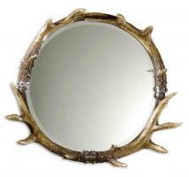 Stag Horn Natural Brown and Ivory Round Mirror